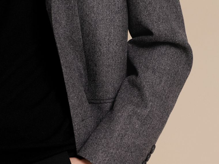 Mid grey Wool Herringbone Tailored Coat - cell image 4