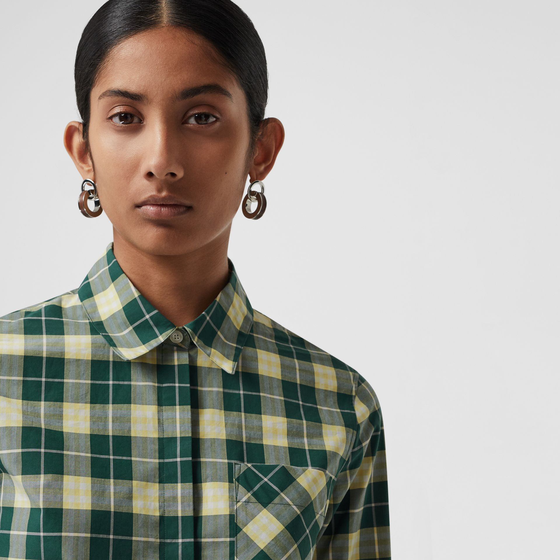 Check Cotton Shirt in Dark Cedar Green - Women | Burberry - gallery image 1