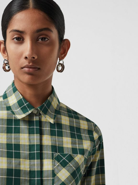 Check Cotton Shirt in Dark Cedar Green - Women | Burberry United States - cell image 1