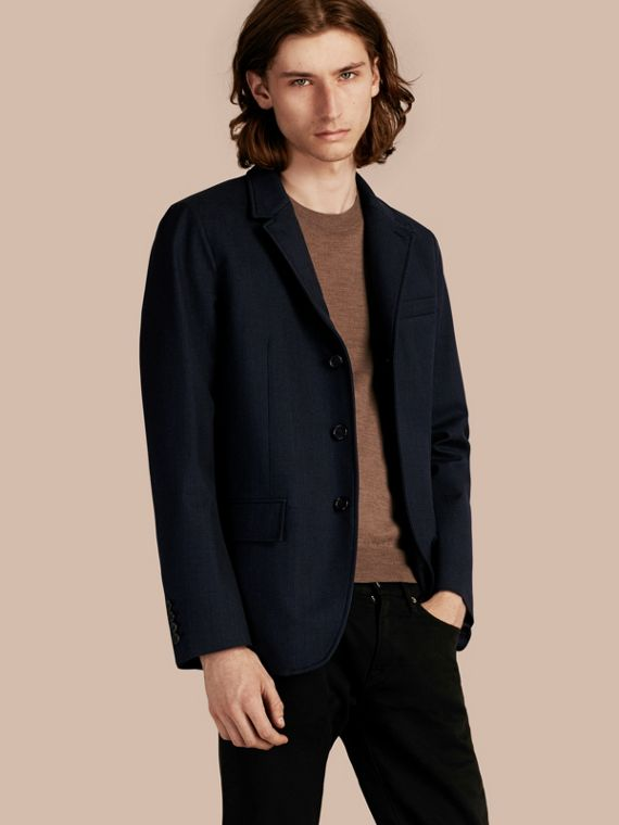 Modern Fit Down-filled Tailored Wool Jacket