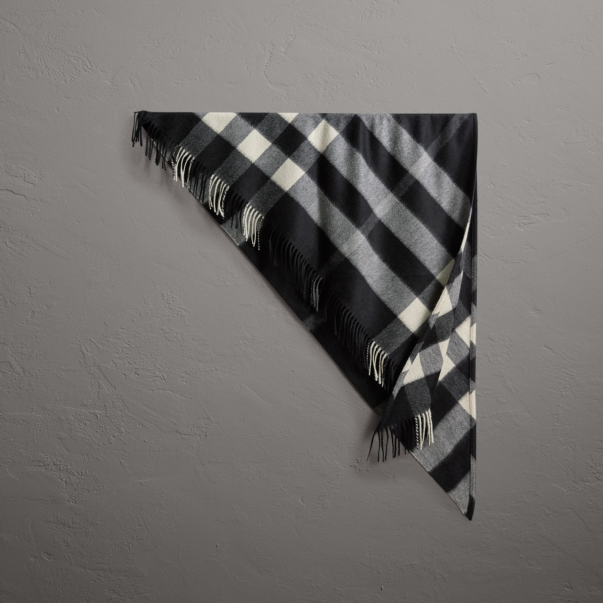 The Burberry Bandana in Check Cashmere in Black | Burberry Australia - gallery image 0