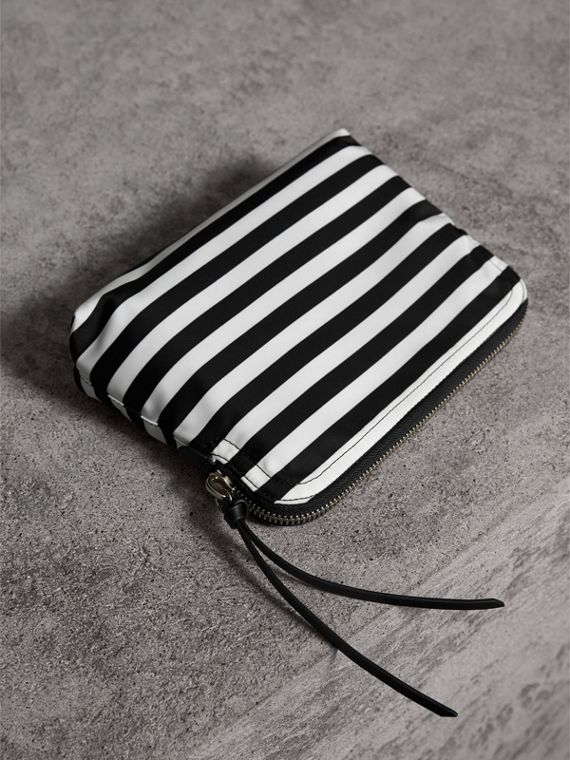 Large Striped Pouch with Pallas Heads Appliqué in Black/white - Women | Burberry - cell image 3