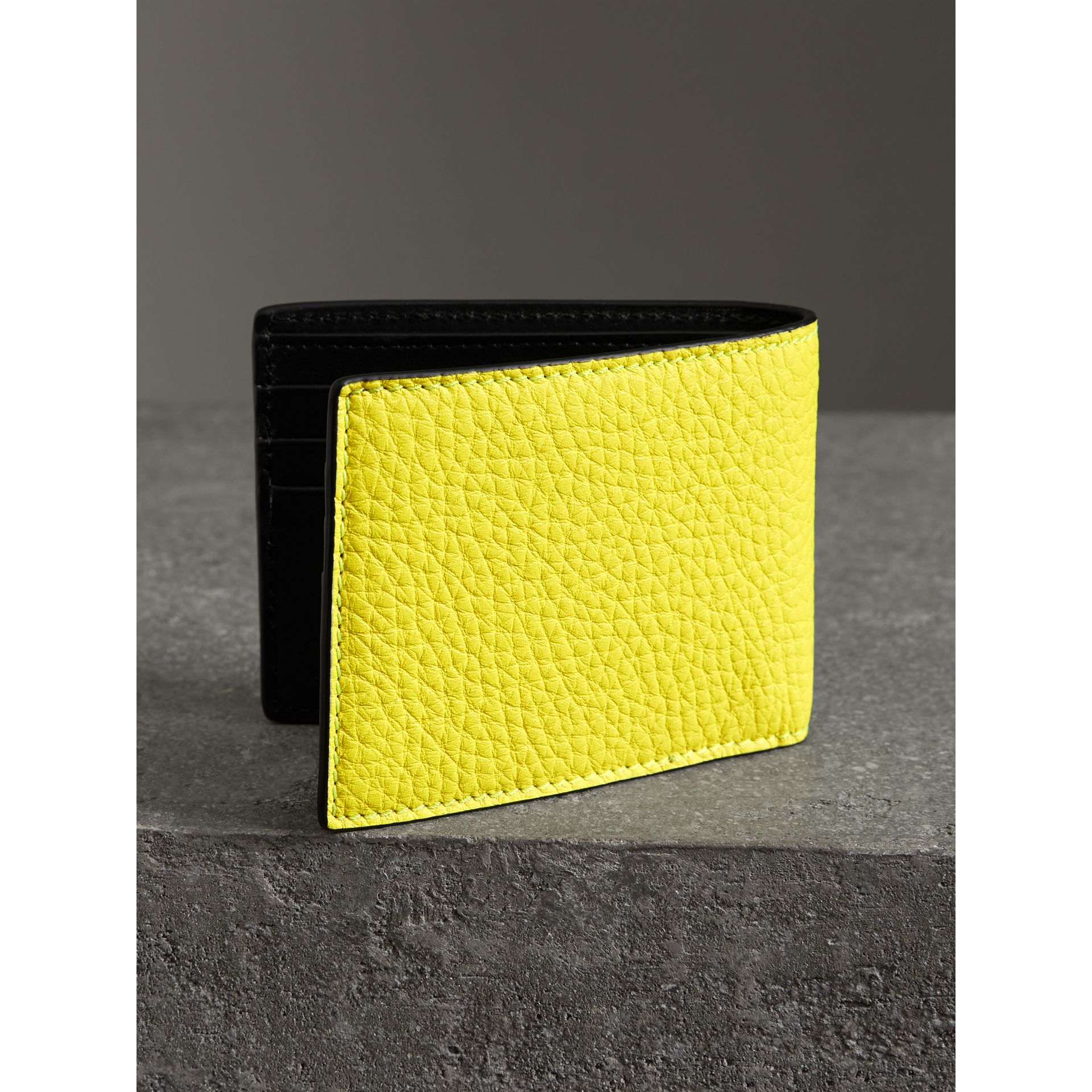Embossed Leather Bifold Wallet in Neon Yellow - Men | Burberry United States - gallery image 2
