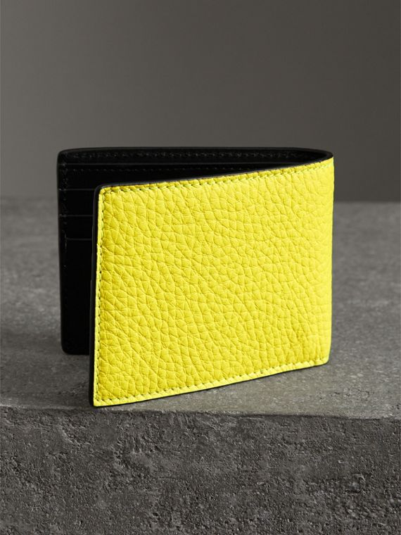 Embossed Leather Bifold Wallet in Neon Yellow - Men | Burberry United States - cell image 2