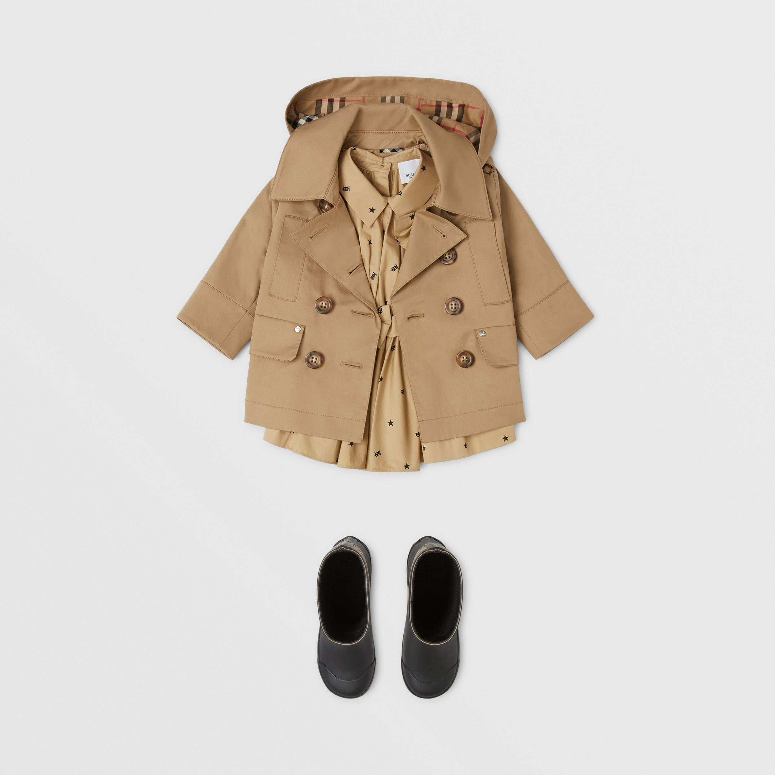 Cotton Twill Hooded Trench Coat in Honey - Children | Burberry - 3