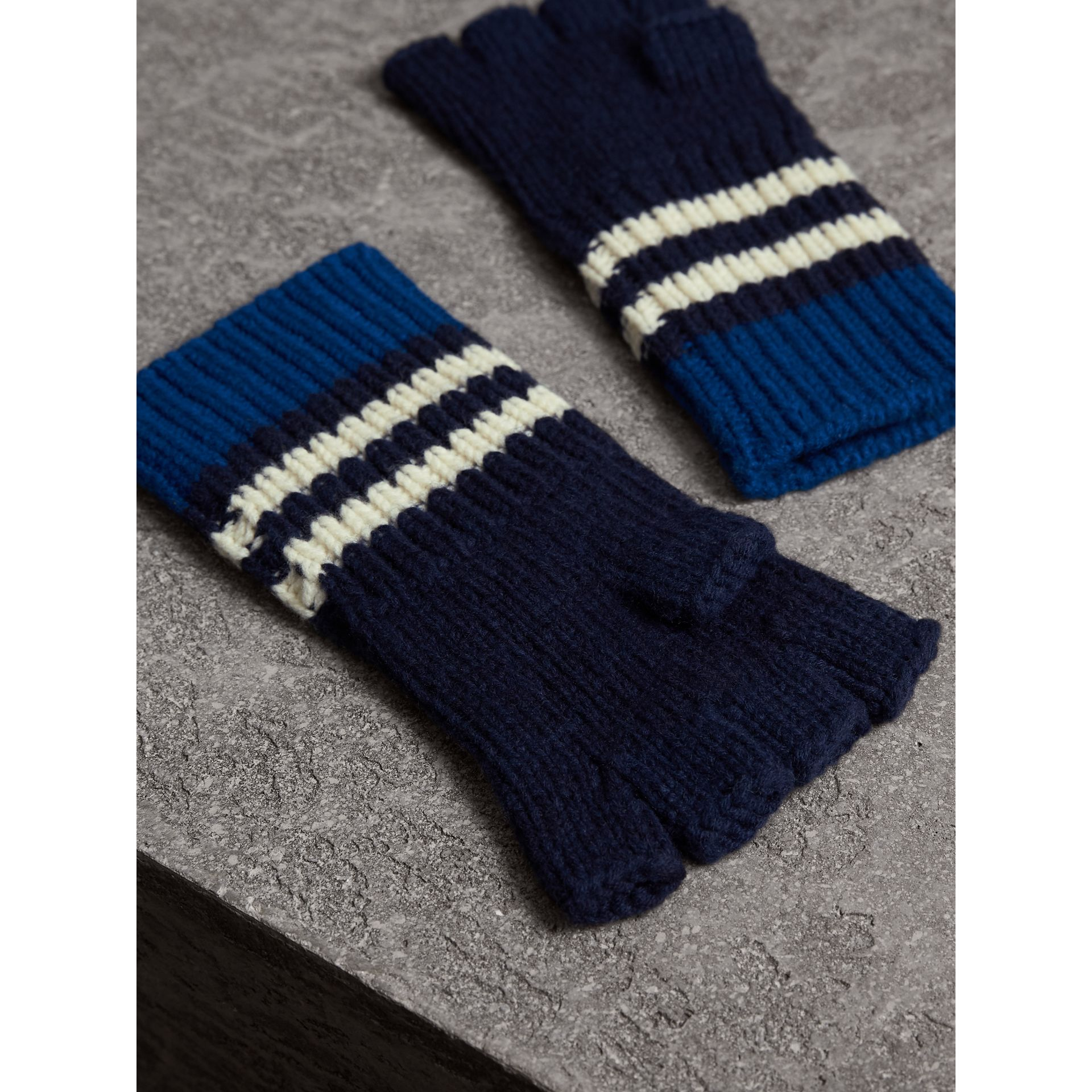 Striped Cable Knit Cashmere Fingerless Gloves in Navy | Burberry - gallery image 3