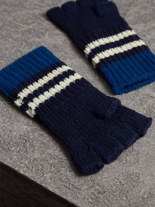Striped Cable Knit Cashmere Fingerless Gloves in Navy | Burberry - cell image 2
