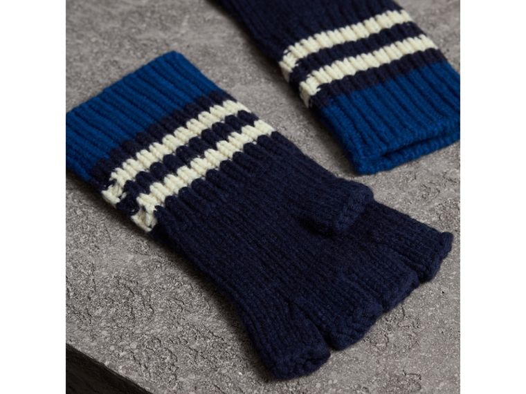 Striped Cable Knit Cashmere Fingerless Gloves in Navy | Burberry United Kingdom - cell image 2