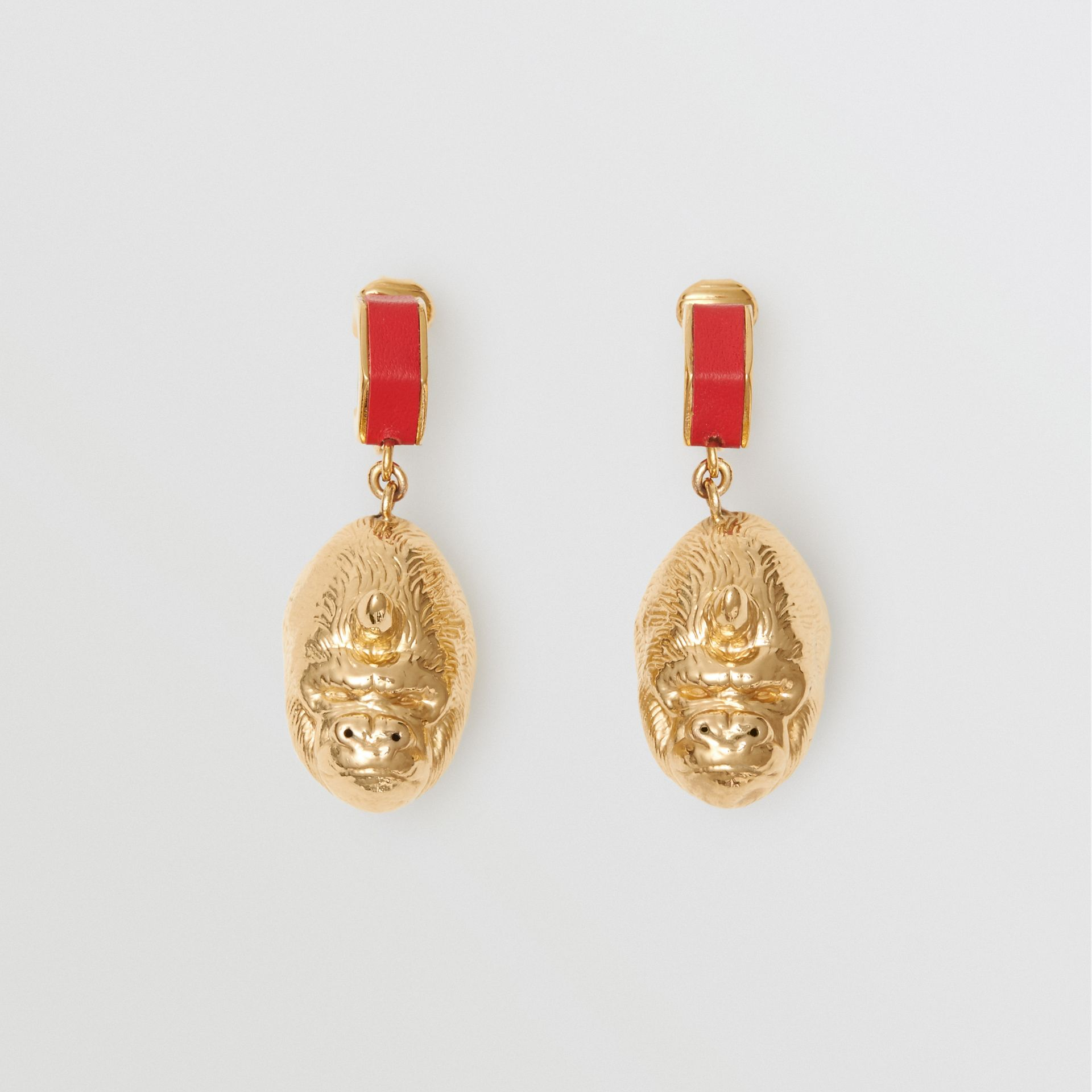 Leather and Gold-plated Nut and Gorilla Earrings in Bright Red/light - Women | Burberry United Kingdom - gallery image 0