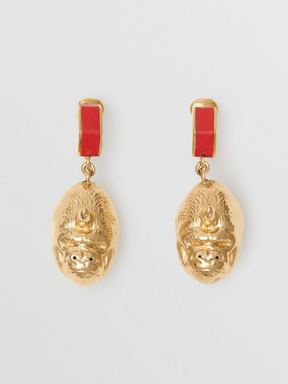 Leather and Gold-plated Nut and Gorilla Earrings in Bright Red/light