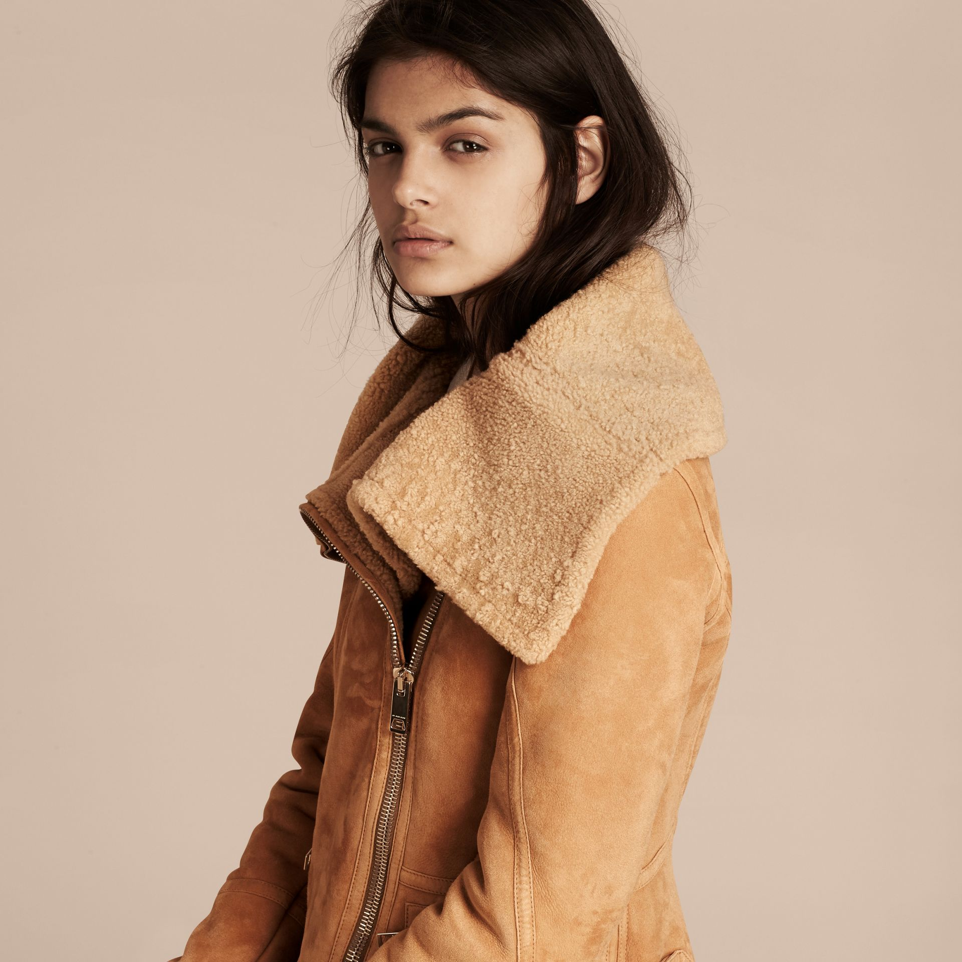 Honey Shearling Aviator Jacket - gallery image 5