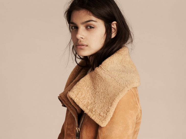 Honey Shearling Aviator Jacket - cell image 4