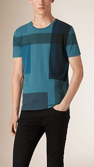 Colour Block Check Cotton T-shirt