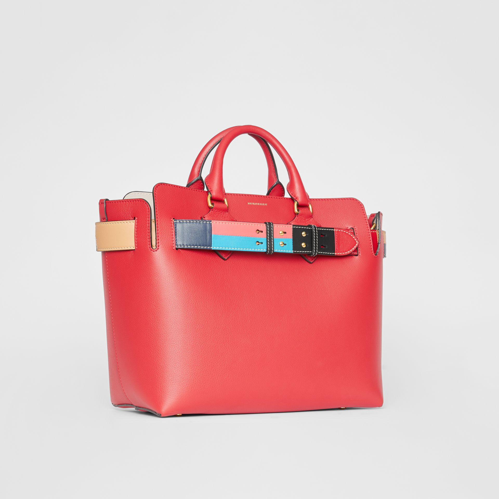 The Medium Leather Colour Block Detail Belt Bag in Bright Crimson Pink - Women | Burberry - gallery image 4