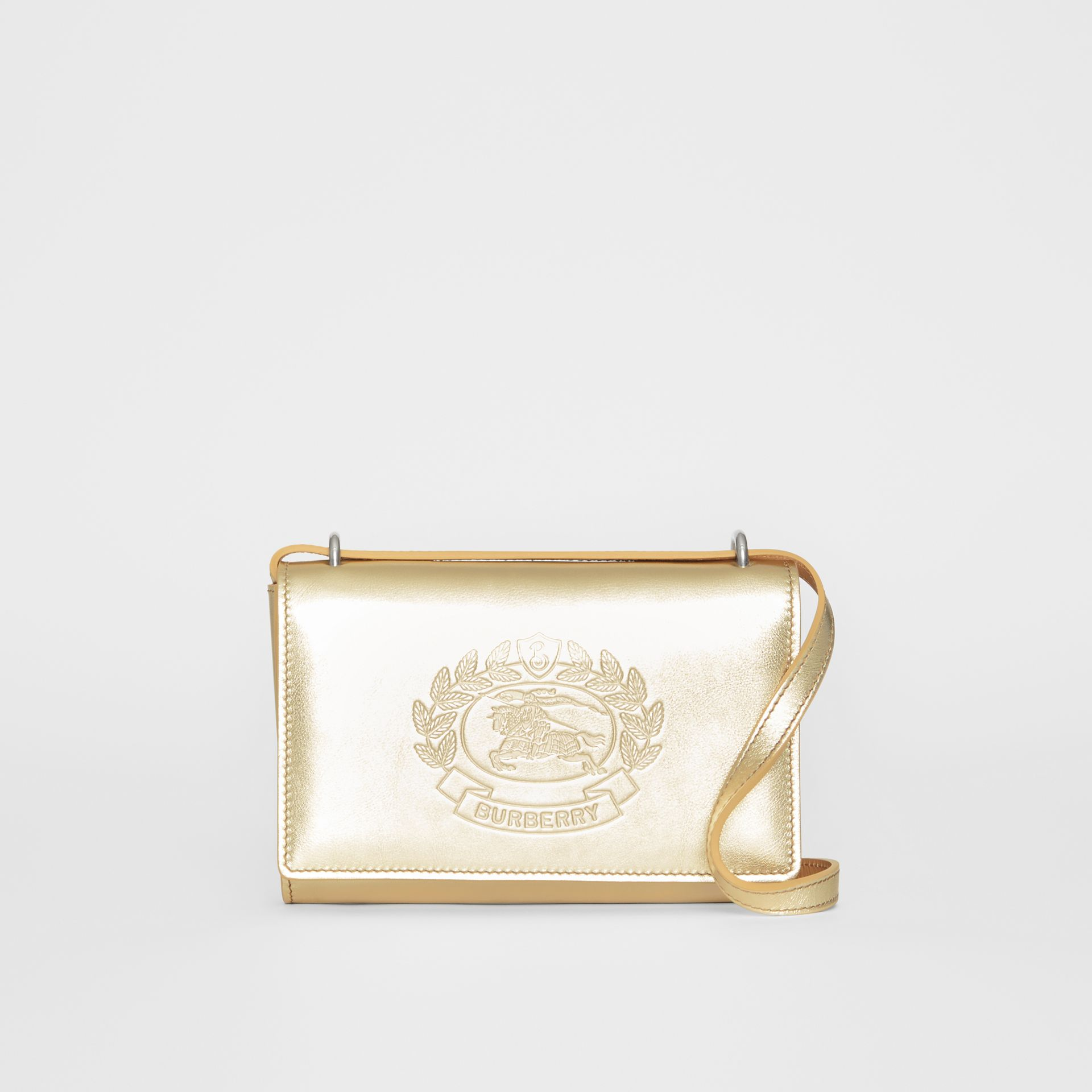 Embossed Crest Metallic Leather Wallet with Detachable Strap in Gold - Women | Burberry United States - gallery image 0