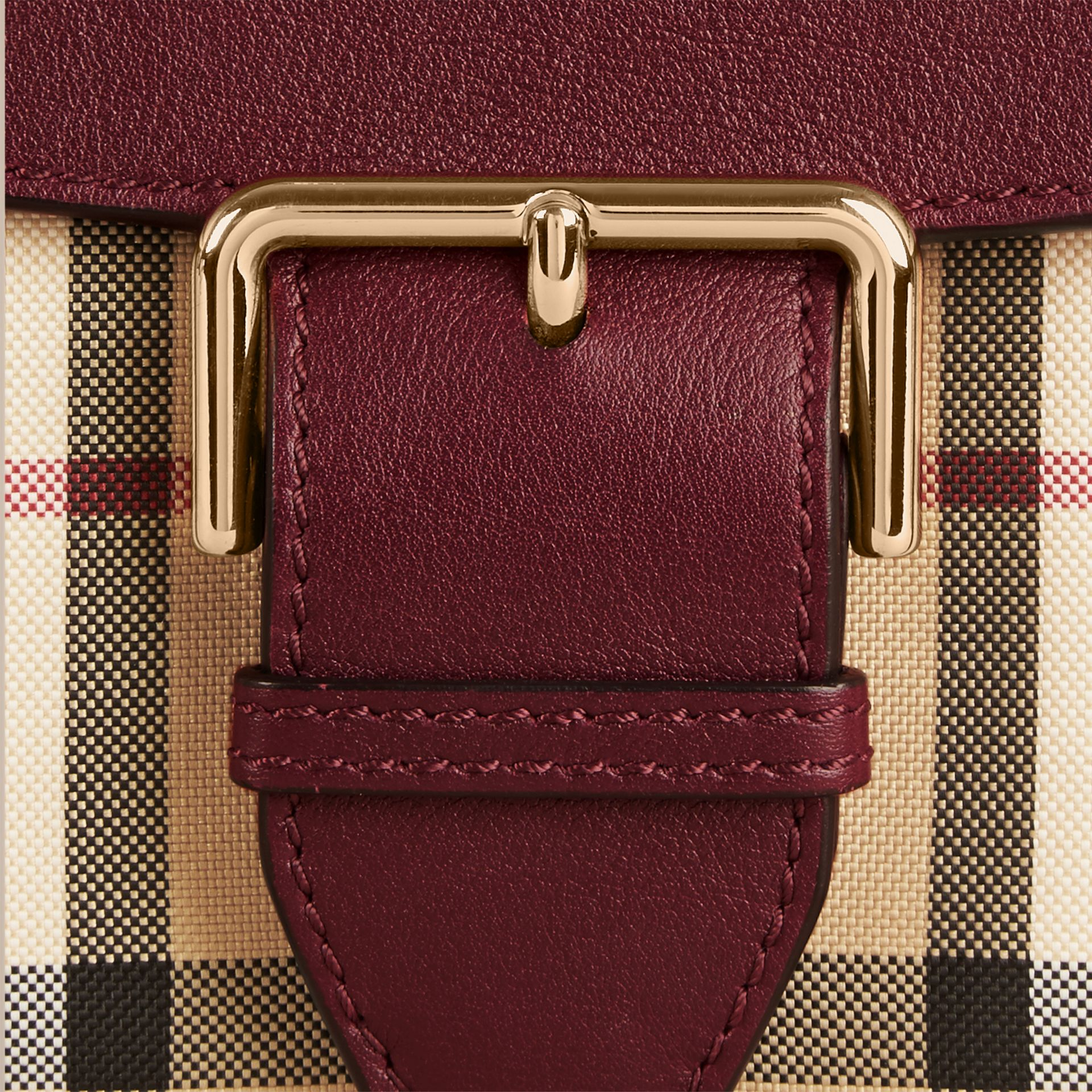 Honey/deep claret Small Horseferry Check and Leather Crossbody Bag Honey/deep Claret - gallery image 2