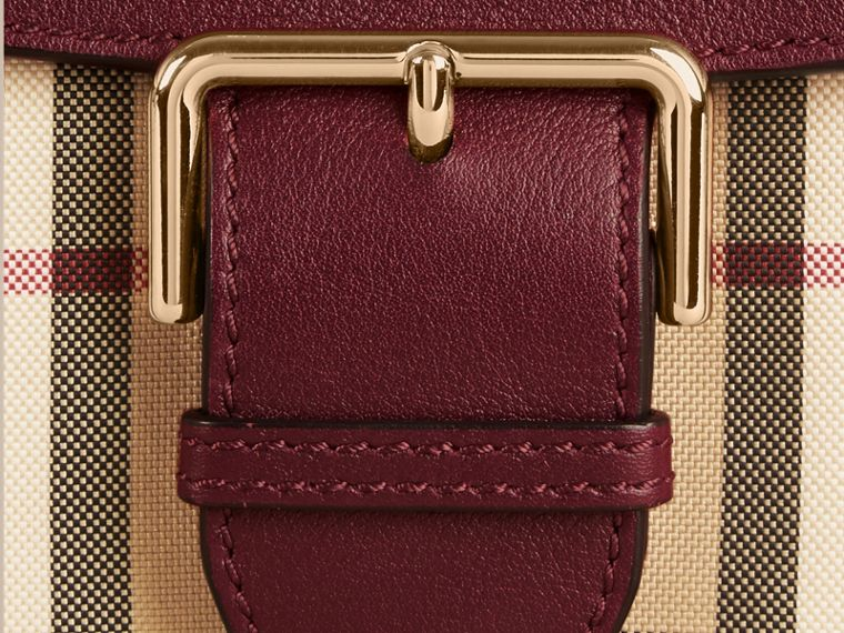 Honey/deep claret Small Horseferry Check and Leather Crossbody Bag Honey/deep Claret - cell image 1