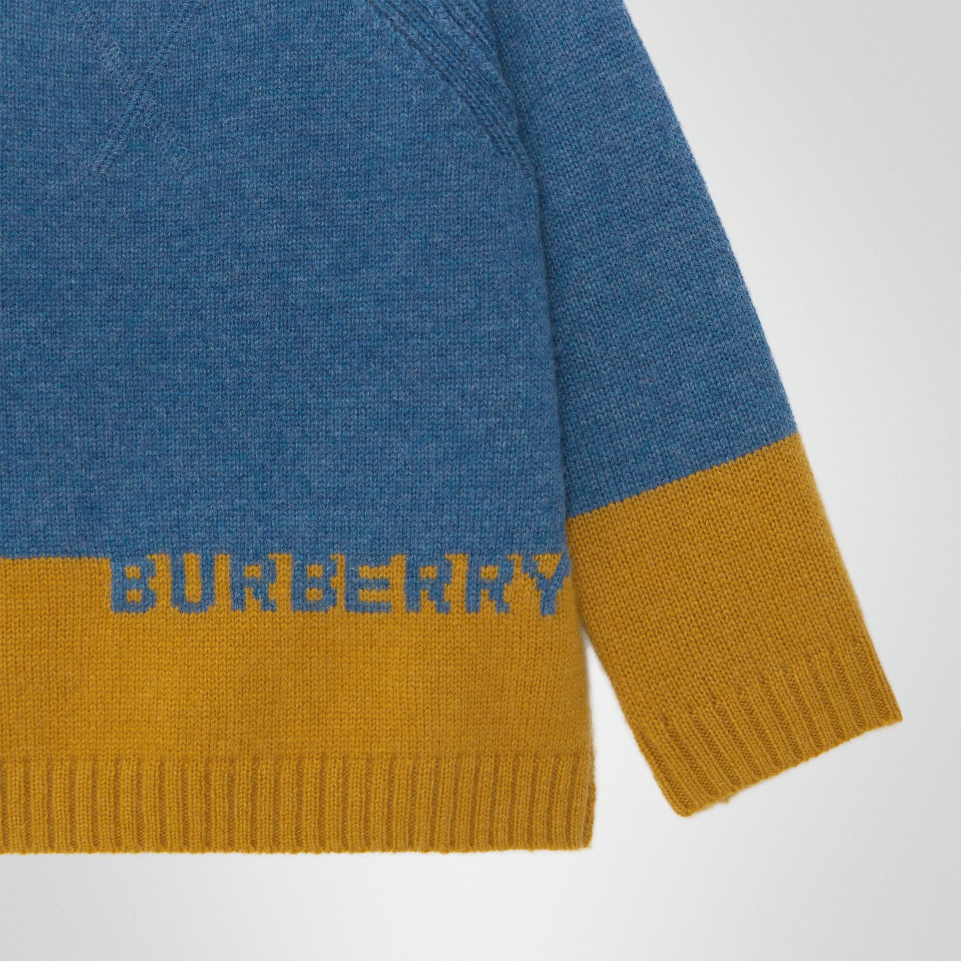 Logo Intarsia Cashmere Sweater in Dusty Blue Melange - Children | Burberry - gallery image 4