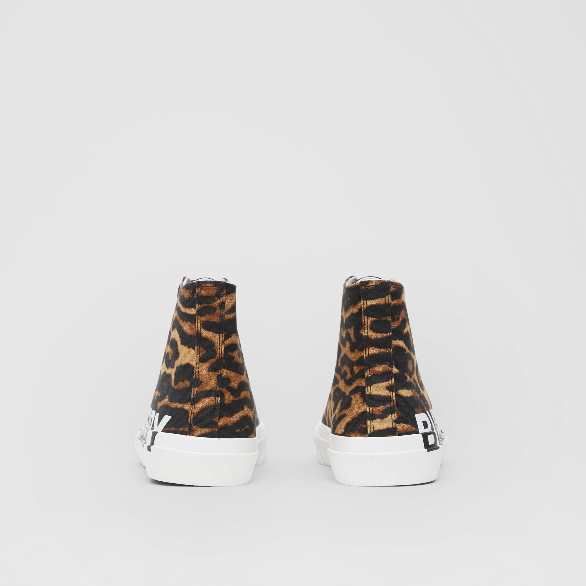 Logo Detail Leopard Print High-top Sneakers in Brown - Women | Burberry - gallery image 4