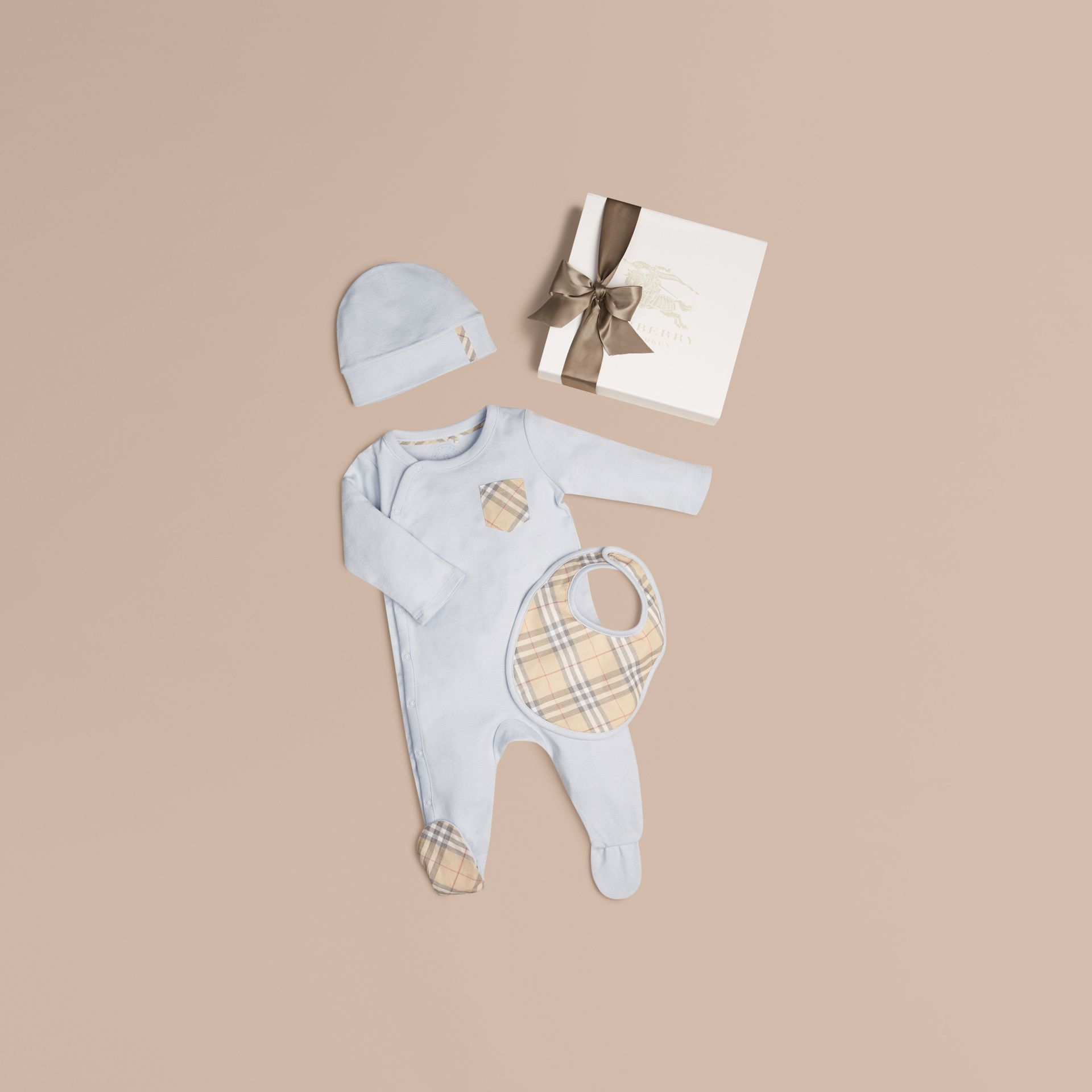 Ice blue Check Cotton Three-piece Baby Gift Set Ice Blue - gallery image 1
