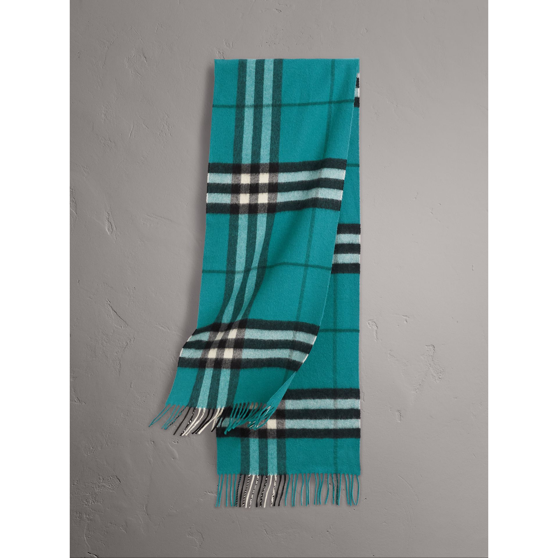 The Classic Check Cashmere Scarf in Dark Aqua | Burberry Australia - gallery image 1