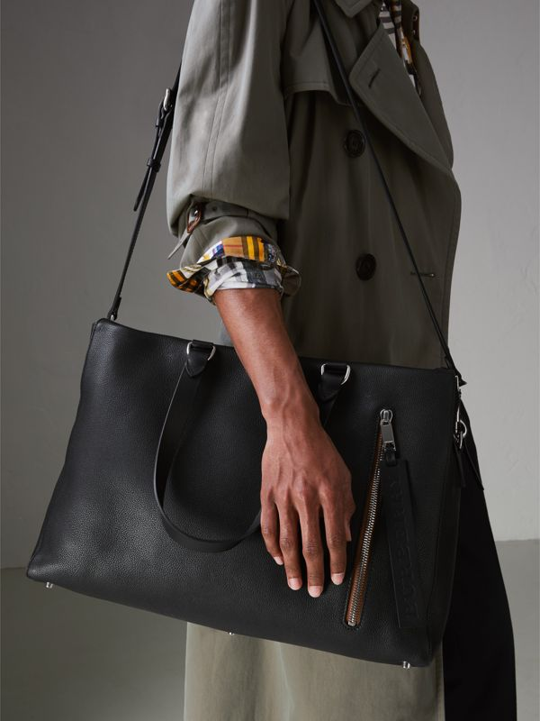 Embossed Grainy Leather Holdall in Black - Men | Burberry Singapore - cell image 3