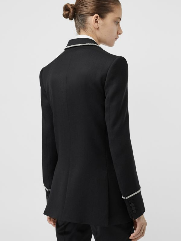 Bullion Stretch Wool Double-breasted Jacket in Black - Women | Burberry - cell image 2