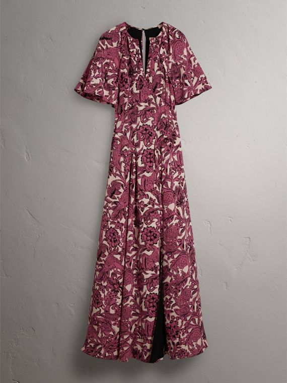 Beasts Print Deep V-neck Silk Longline Dress in Pink Azalea - Women | Burberry - cell image 3
