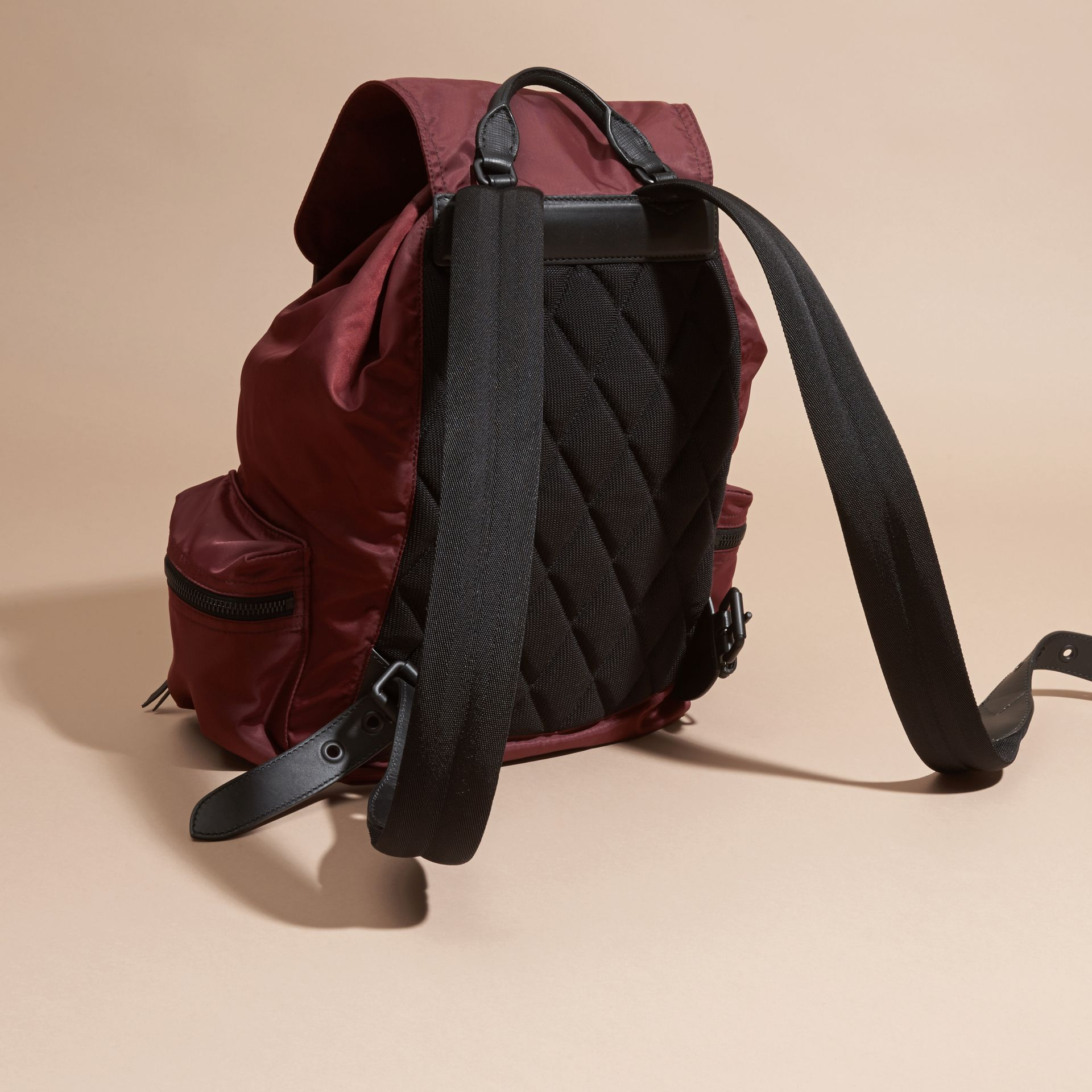 The Large Rucksack in Technical Nylon and Leather Burgundy Red - gallery image 4