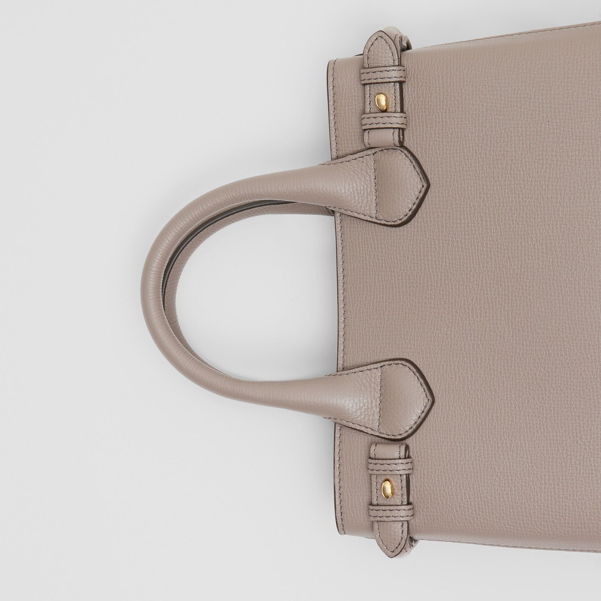 The Small Banner in Leather and House Check in Thistle Grey - Women   Burberry - gallery image 1