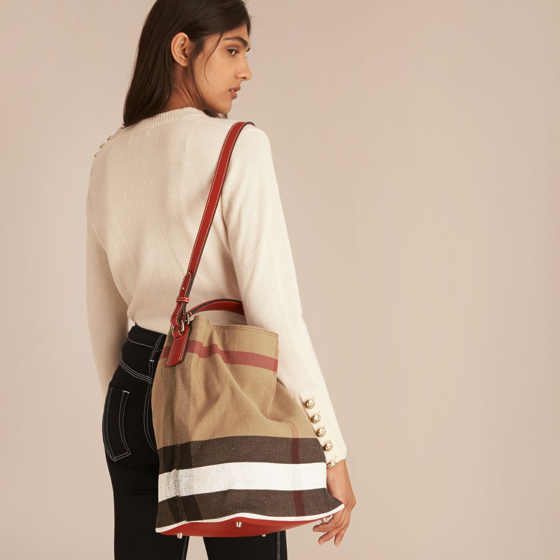 Medium Canvas Check Hobo Bag in Cadmium Red - Women | Burberry - gallery image 3