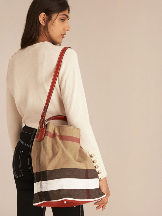 Medium Canvas Check Hobo Bag in Cadmium Red - Women | Burberry - cell image 2