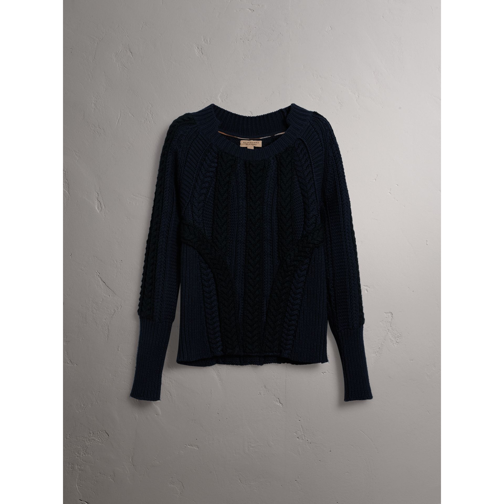Two-tone Cable Knit Wool Cashmere Sweater in Navy - Women | Burberry - gallery image 4