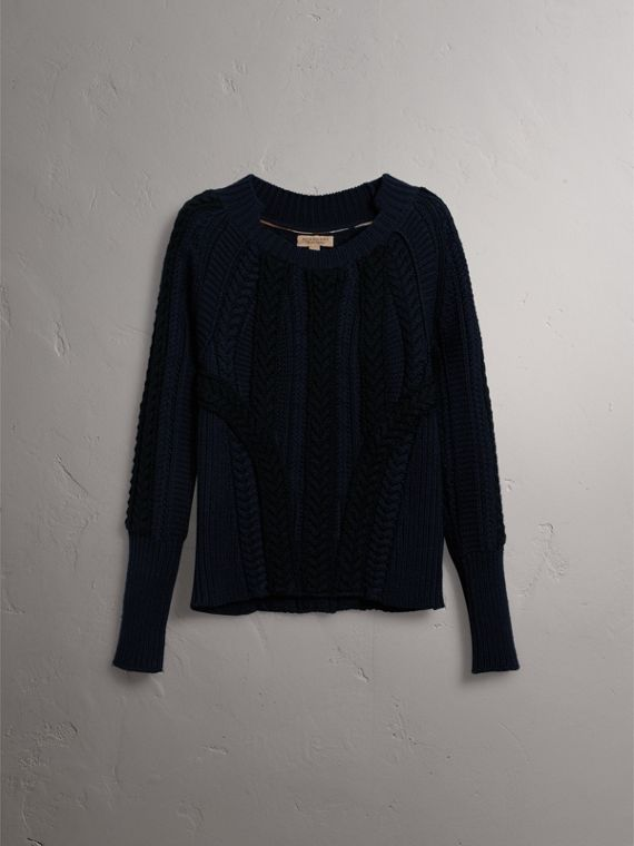 Two-tone Cable Knit Wool Cashmere Sweater in Navy - Women | Burberry United States - cell image 3