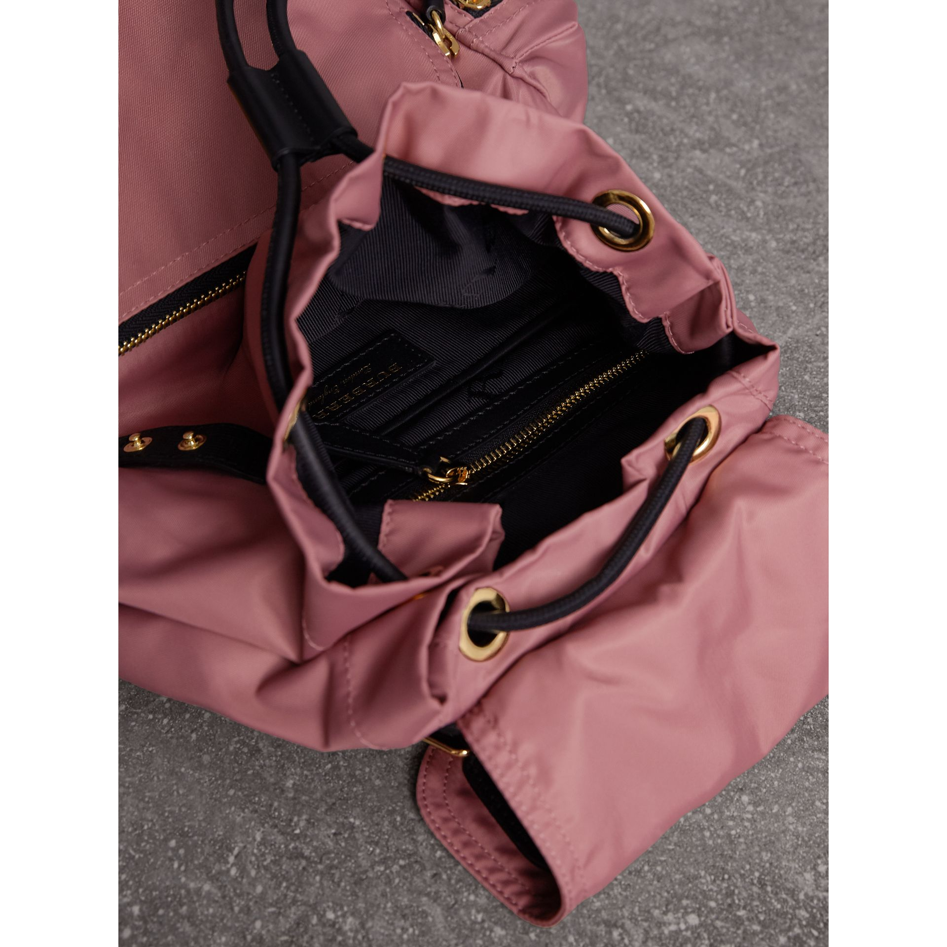 The Medium Rucksack in Technical Nylon and Leather in Mauve Pink - Women | Burberry - gallery image 4
