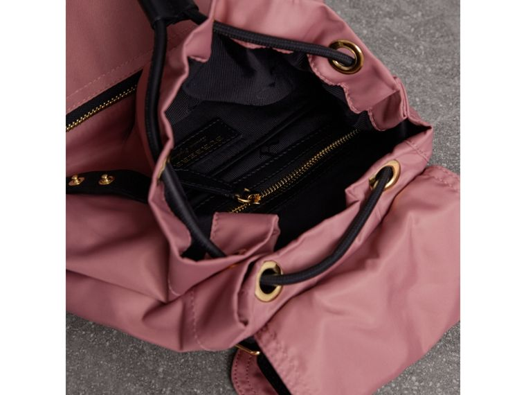 The Medium Rucksack in Technical Nylon and Leather in Mauve Pink - Women | Burberry - cell image 4