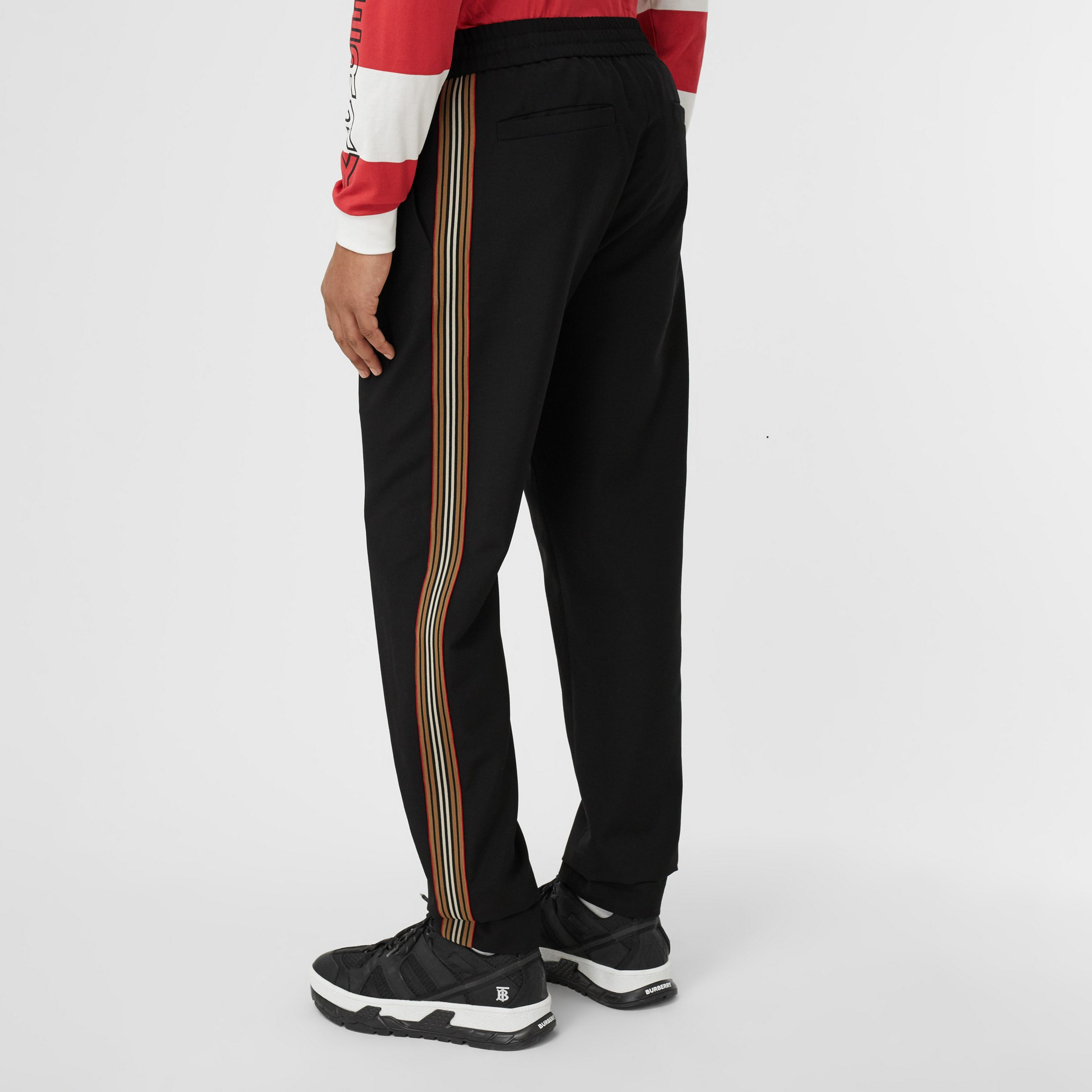 Icon Stripe Detail Wool Mohair Jogging Pants in Black - Men | Burberry - 3