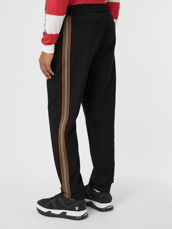 Icon Stripe Detail Wool Mohair Trackpants in Black - Men | Burberry - cell image 2