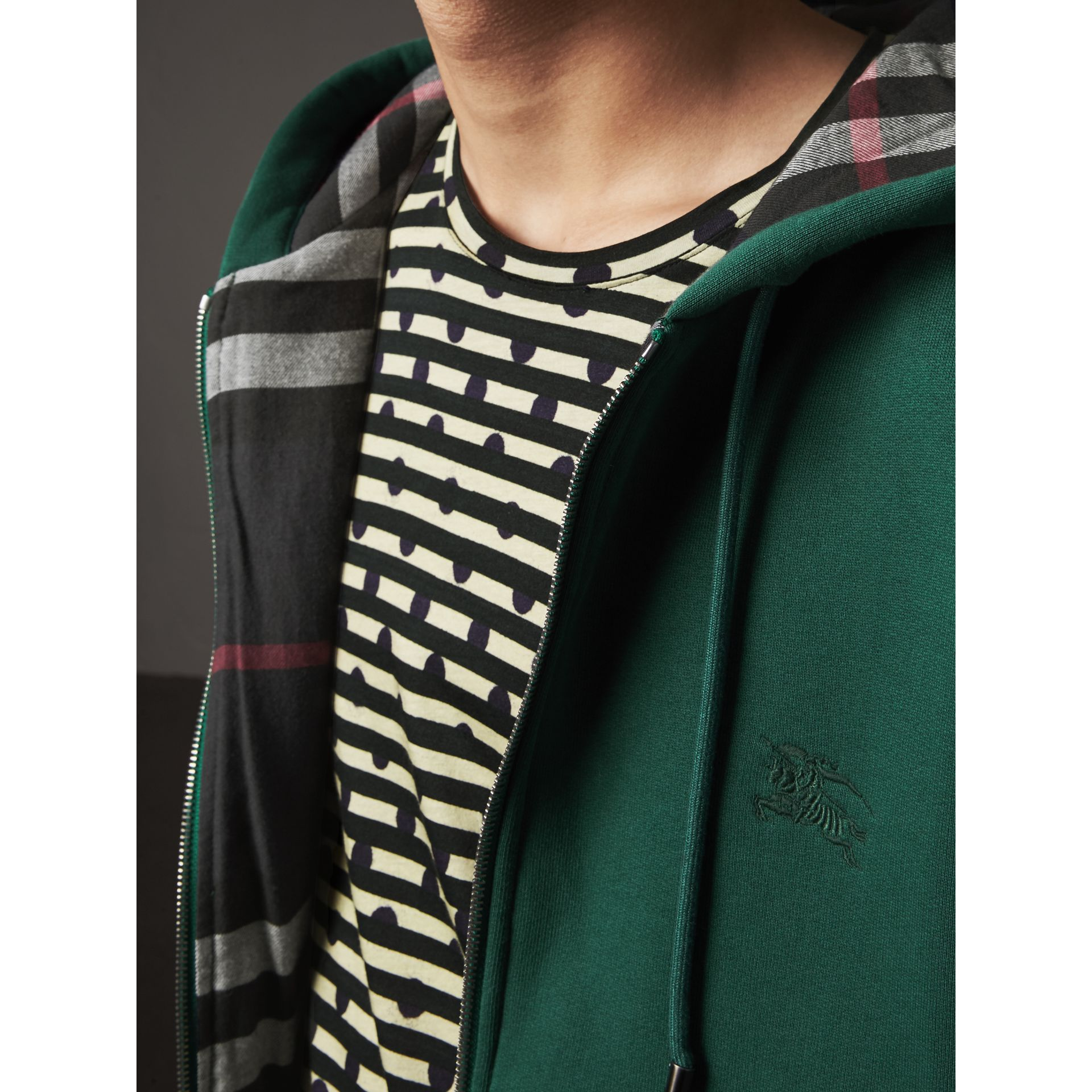 Check Detail Jersey Hooded Top in Dark Forest Green - Men | Burberry United Kingdom - gallery image 1