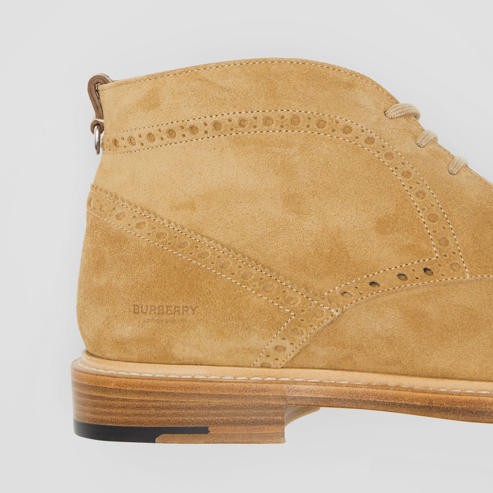 Brogue Detail Suede Boots in Sandy Beige - Men | Burberry - gallery image 1