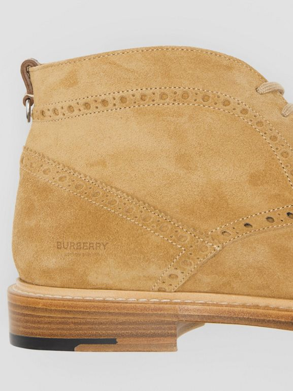 Brogue Detail Suede Boots in Sandy Beige - Men | Burberry - cell image 1
