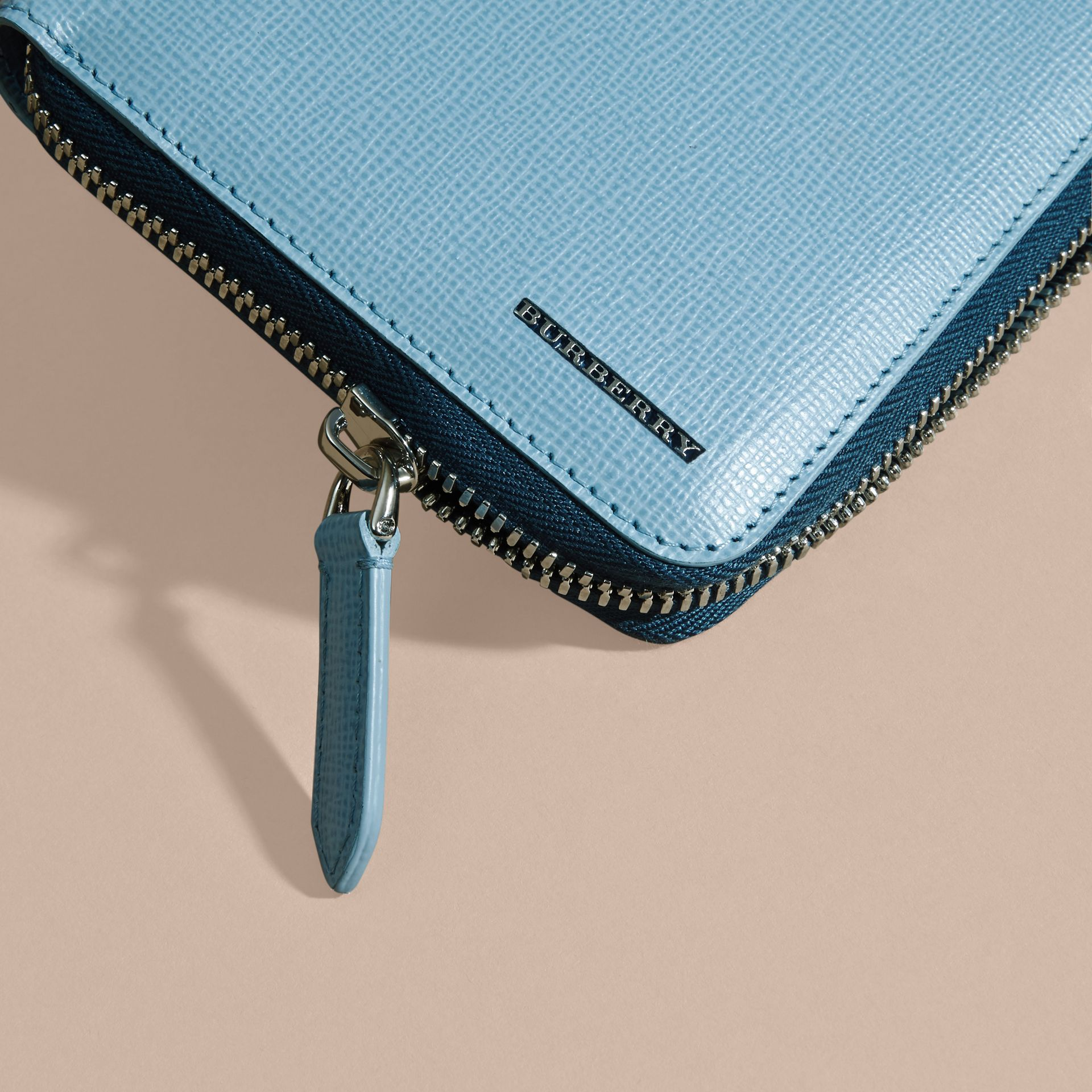 London Leather Ziparound Wallet Powder Blue - gallery image 2