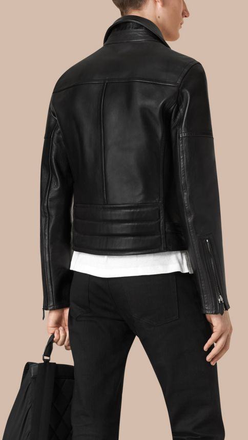 Black Leather Biker Jacket - Image 4