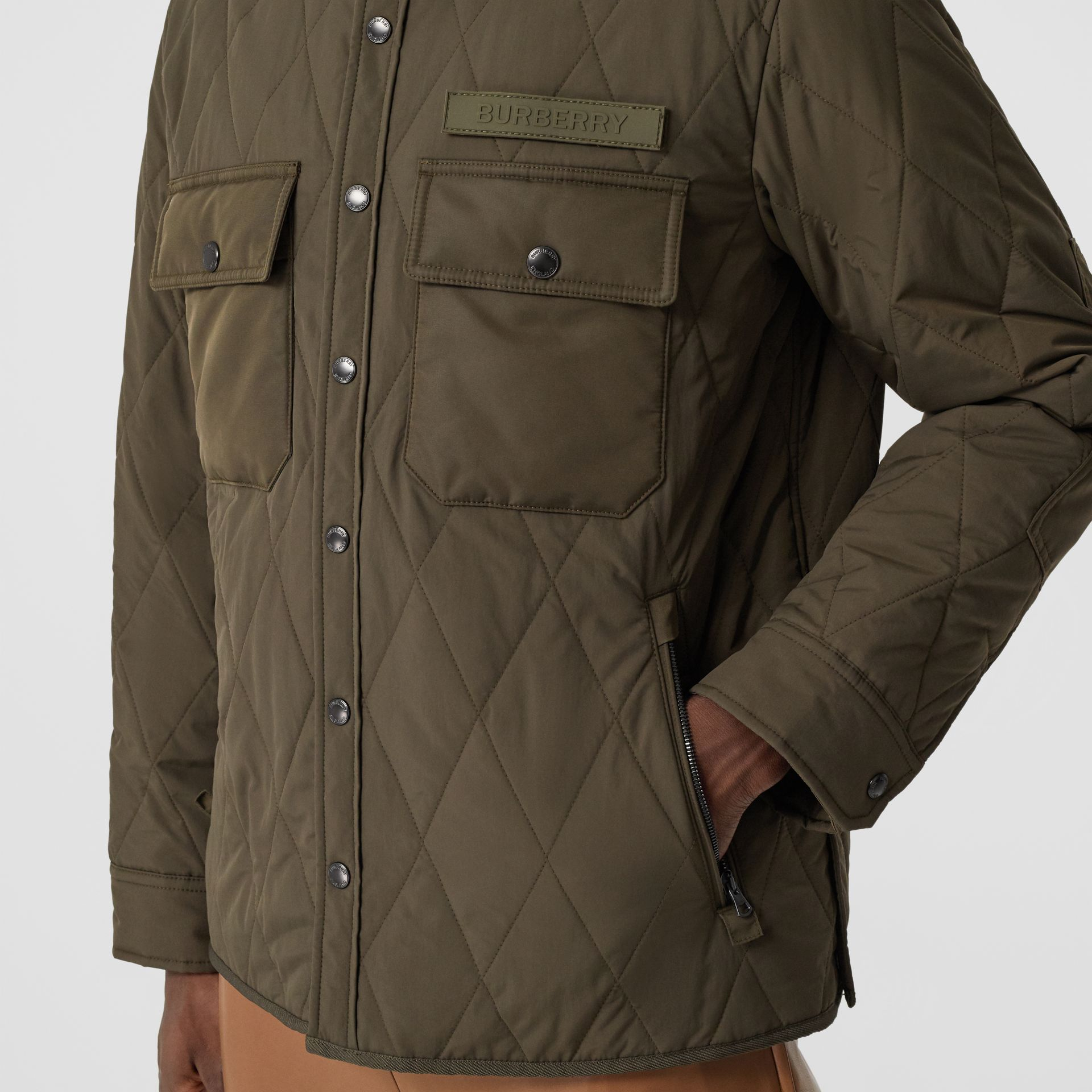 Quilted Nylon Thermoregulated Overshirt in Dark Olive Green - Men | Burberry - gallery image 5