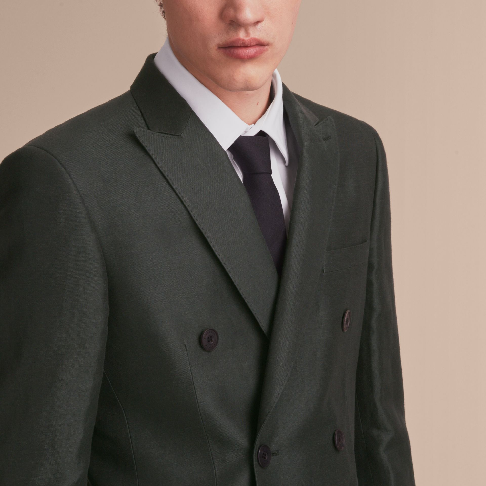 Slim Fit Travel Tailoring Linen Blend Suit in Slate Green - Men | Burberry - gallery image 5