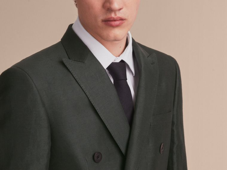Slim Fit Travel Tailoring Linen Blend Suit in Slate Green - Men | Burberry - cell image 4