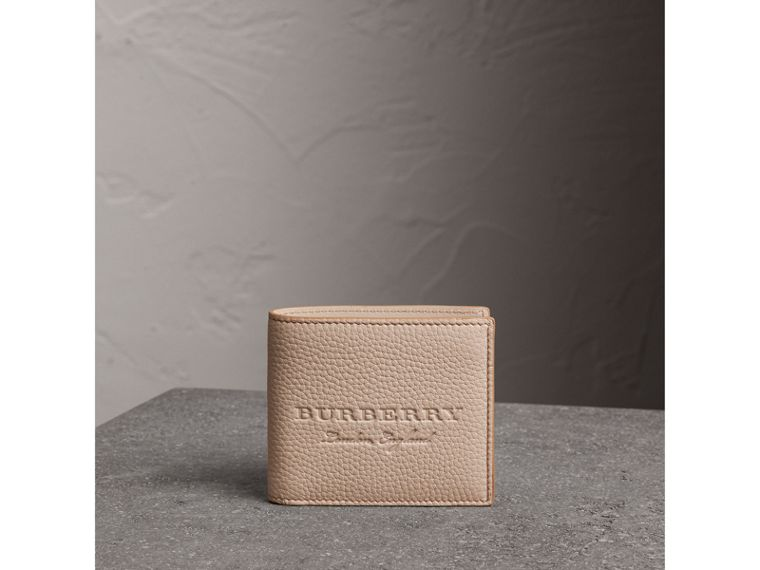 Embossed Leather Bifold Wallet in Chino - Men | Burberry - cell image 4