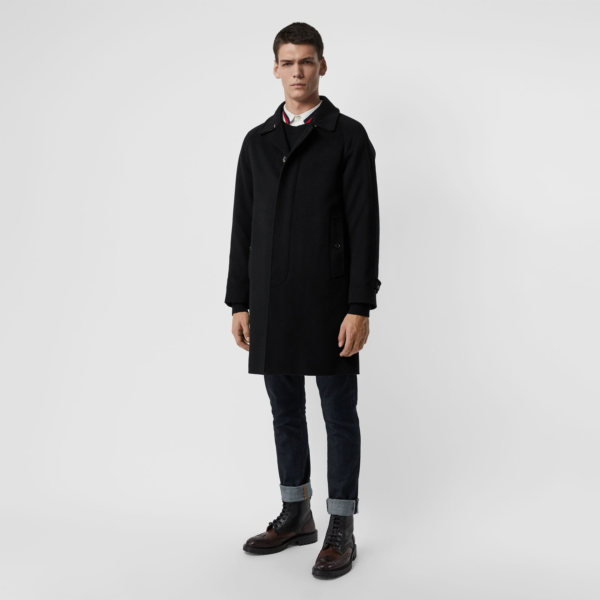 Cashmere Car Coat in Black - Men | Burberry - gallery image 5