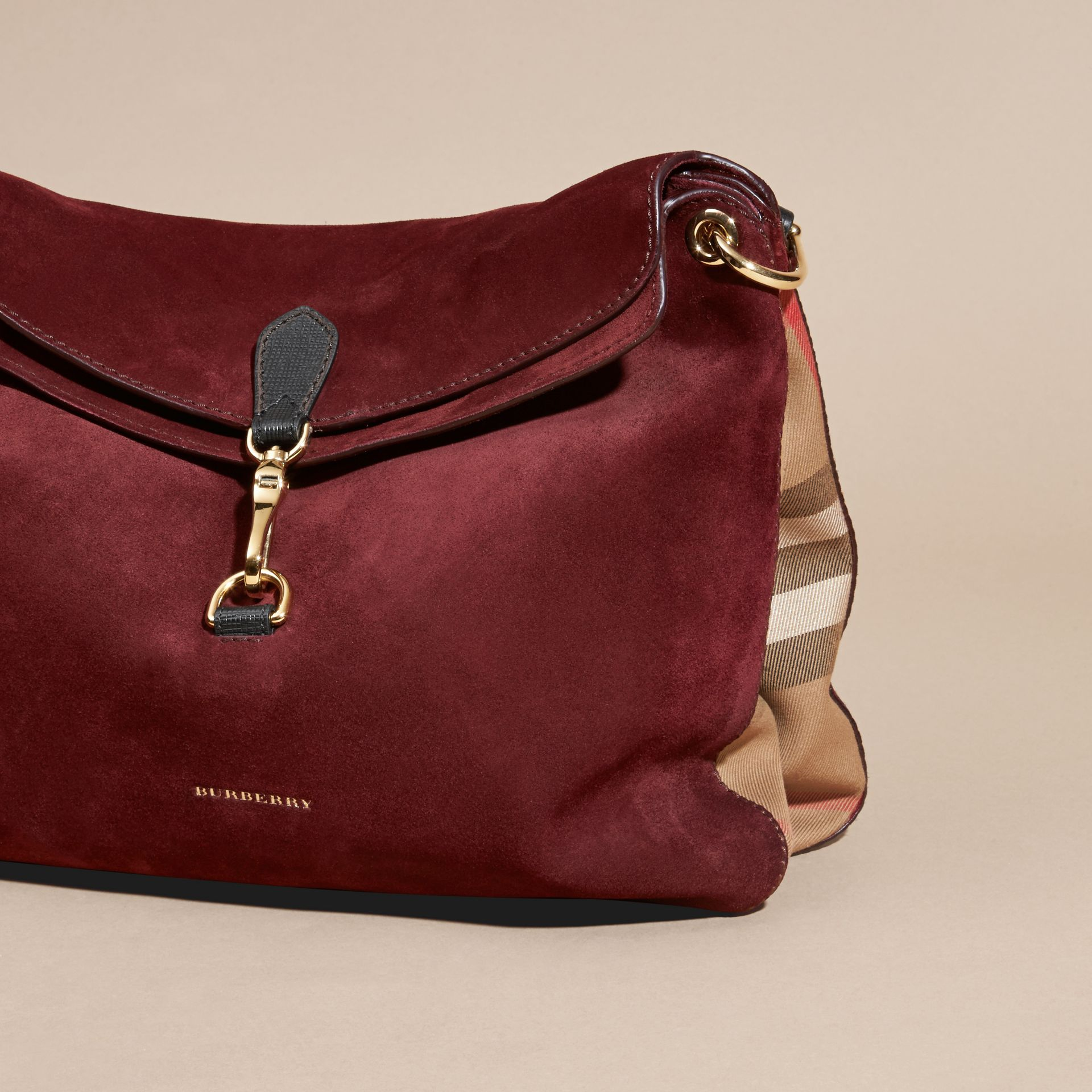 Mahogany red English Suede and House Check Shoulder Bag - gallery image 7