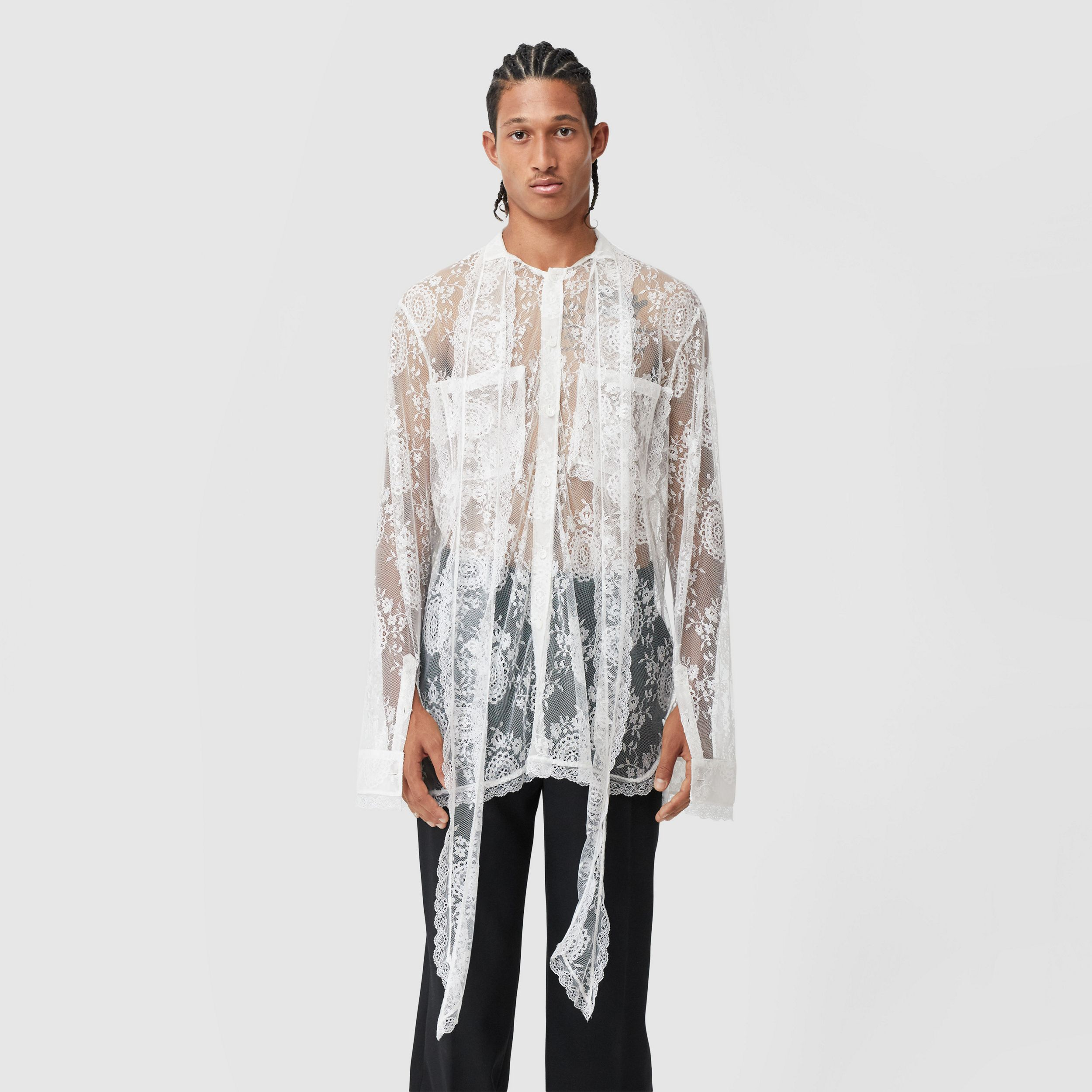 Chantilly Lace Oversized Tie-neck Shirt in Optic White - Men | Burberry United Kingdom - 1